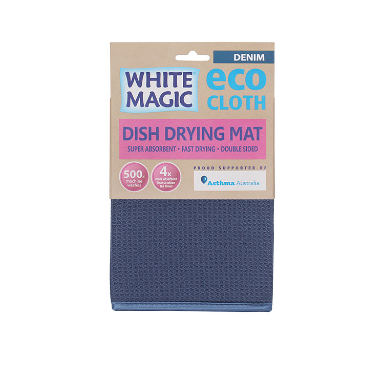 White Magic Eco Cloth Dish Drying Mat Denim