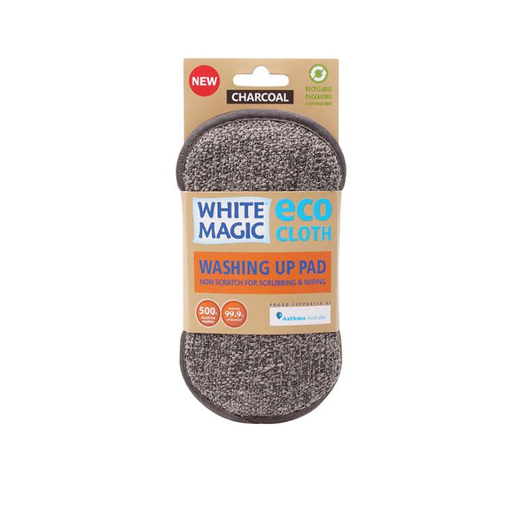 White Magic Eco Cloth Washing Up Pad Charcoal