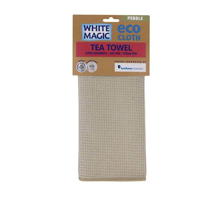 White Magic Eco Cloth Tea Towel Pebble