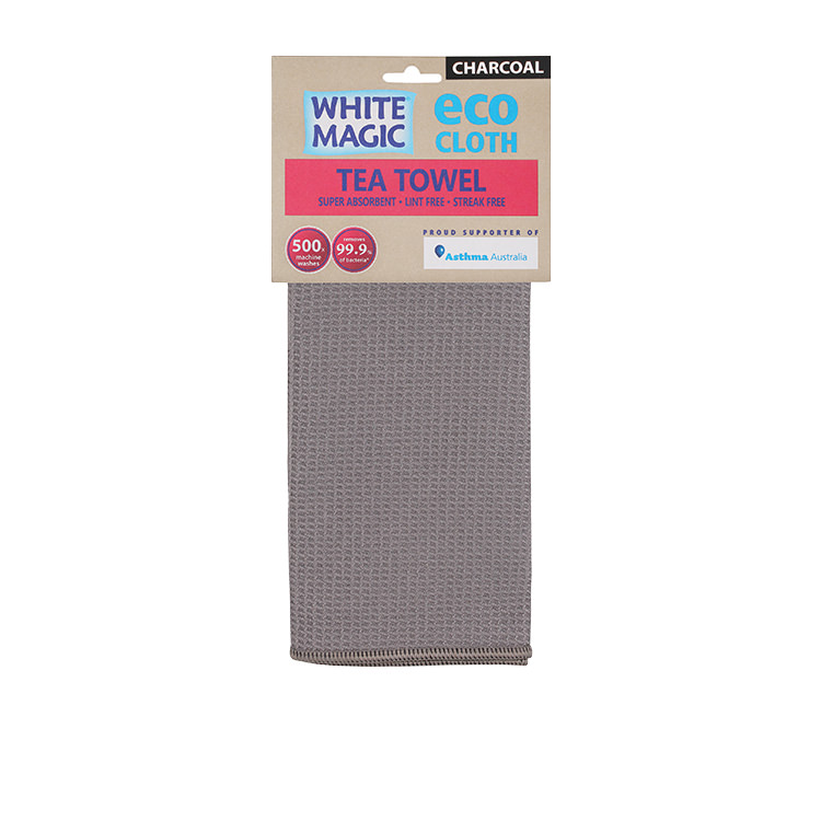 White Magic Eco Cloth Tea Towel Charcoal  Grey