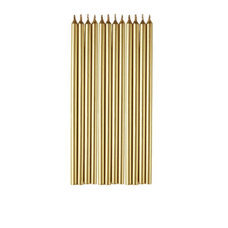 Wilton Long Gold Candles 12pc