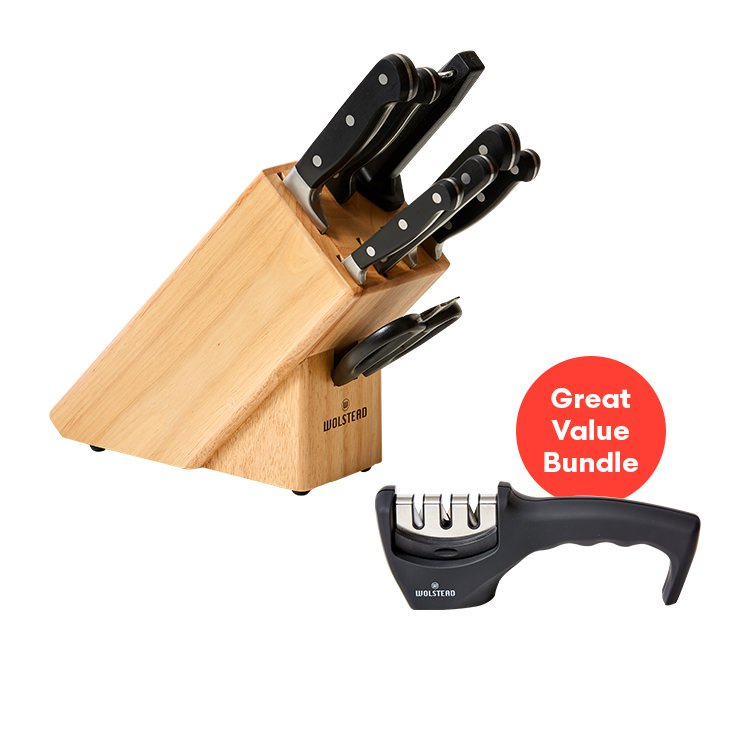 Wolstead Essen 9pc Knife Block Set and 3 Stage Sharpener Pack