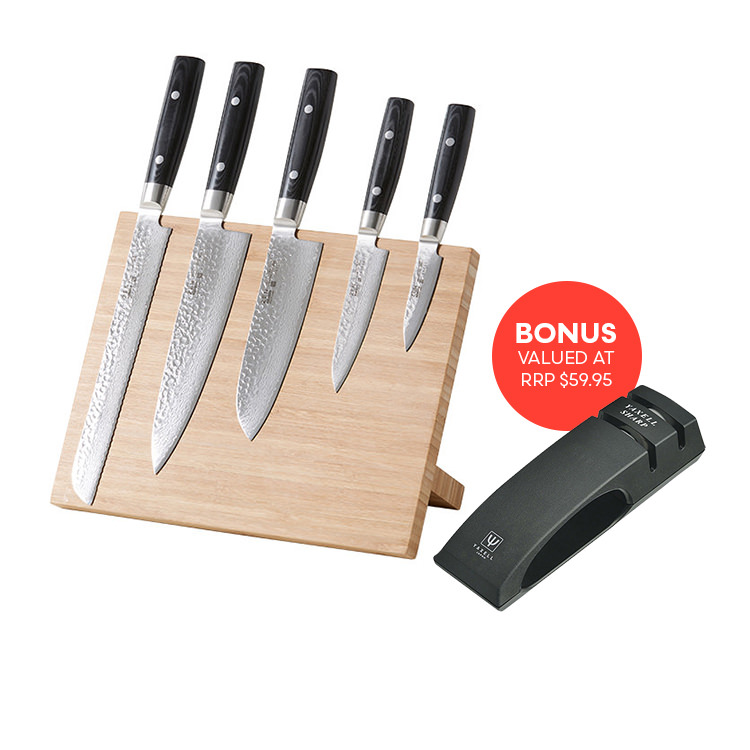 Yaxell Zen 6pc Block Set Bonus 2 Stage Sharpener