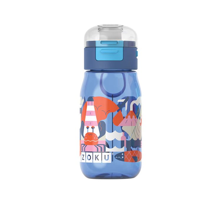 Zoku Flip Gulp Kids Bottle 475ml Blue Graphic