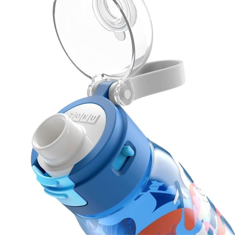 Zoku Flip Gulp Kids Bottle 475ml Blue Graphic