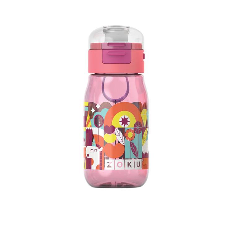 Zoku Flip Gulp Kids Bottle 475ml Pink Graphic