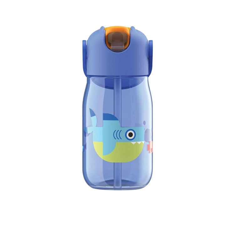 Zoku Flip Straw Kids Bottle 415ml Blue Shark