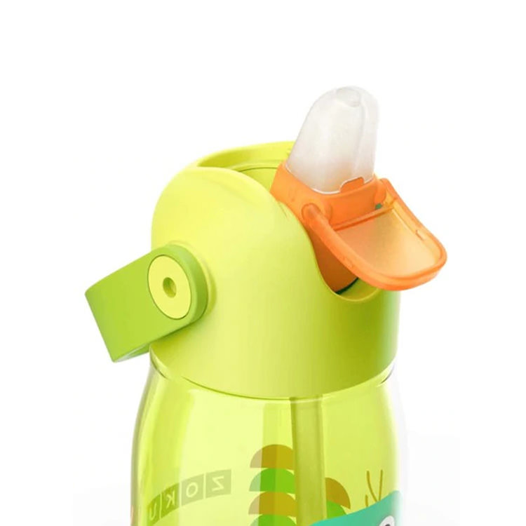 Zoku Flip Straw Kids Bottle 415ml Green Dinosaur