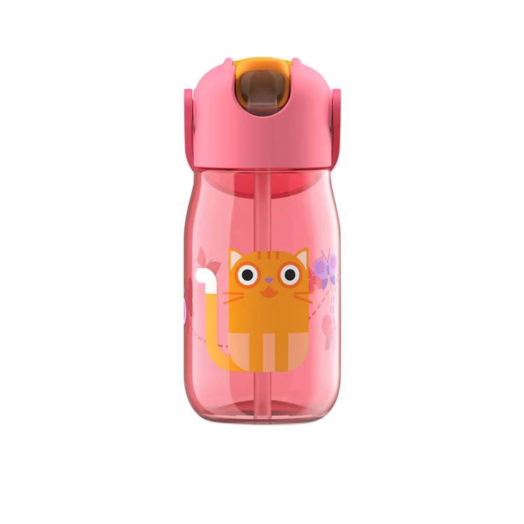 Zoku Flip Straw Kids Bottle 415ml Red Cat