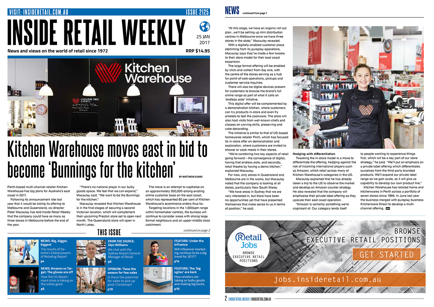 Inside Retail article featuring Kitchen Warehouse moves east